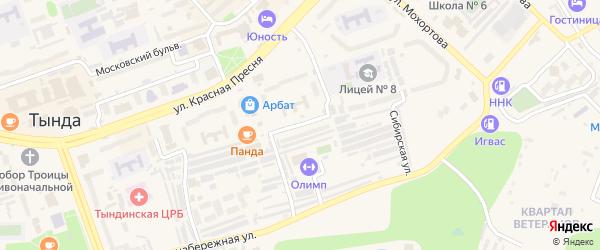 Усть-Илимская улица на карте Тынды с номерами домов