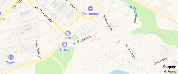 Улица Буровиков на карте Тынды с номерами домов