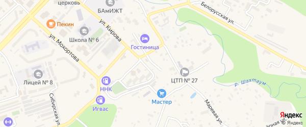 Целинная улица на карте Тынды с номерами домов