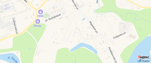 Коммунальная улица на карте Тынды с номерами домов
