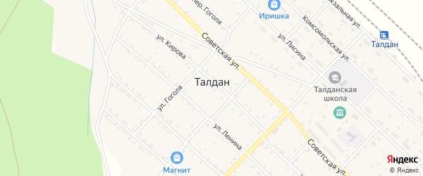 Зеленая улица на карте села Талдана с номерами домов