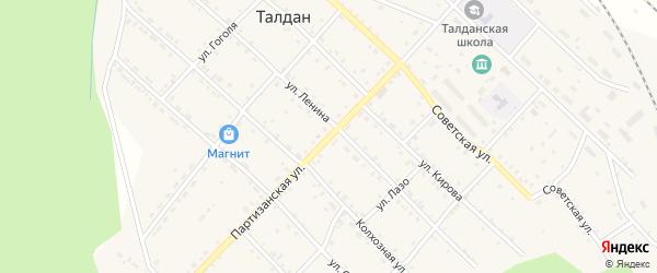 Партизанская улица на карте села Талдана с номерами домов