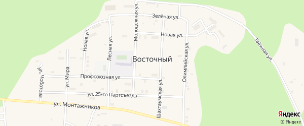 Профсоюзная улица на карте Восточного поселка с номерами домов