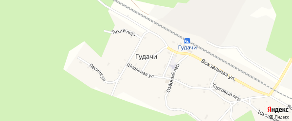 Тихий переулок на карте поселка Гудачи с номерами домов