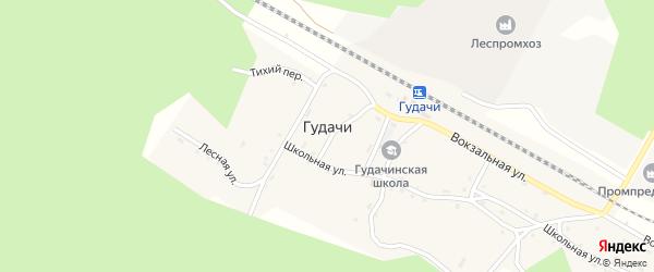 Озерный переулок на карте поселка Гудачи с номерами домов
