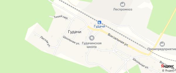 Школьная улица на карте поселка Гудачи с номерами домов