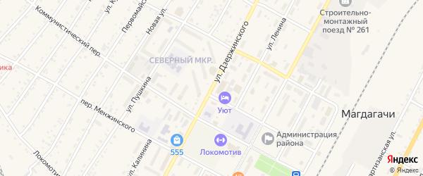 Улица Дзержинского на карте поселка Магдагачей с номерами домов