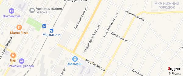 Красноармейская улица на карте поселка Магдагачей с номерами домов