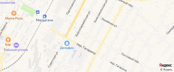 Комсомольская улица на карте поселка Магдагачей с номерами домов