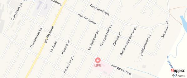 Улица Железнова на карте поселка Магдагачей с номерами домов
