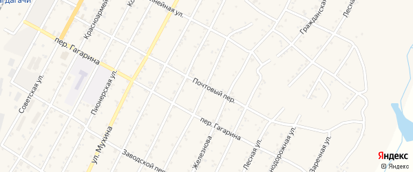 Почтовый переулок на карте поселка Магдагачей с номерами домов
