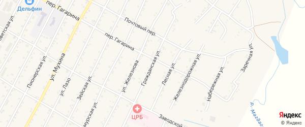 Гражданская улица на карте поселка Магдагачей с номерами домов