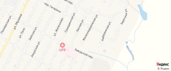 Железнодорожная улица на карте поселка Магдагачей с номерами домов