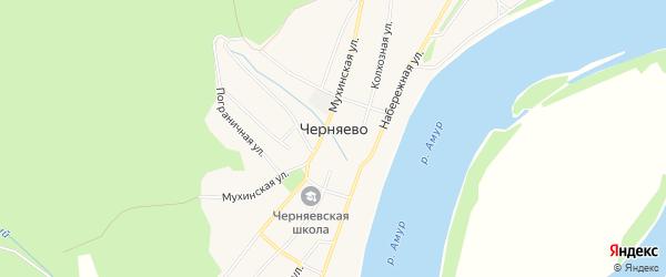 Карта села Черняево в Амурской области с улицами и номерами домов