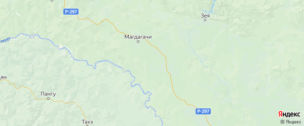 Карта Магдагачинского района Амурской области с населенными пунктами и городами