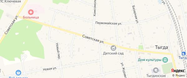 Советская улица на карте села Тыгды с номерами домов