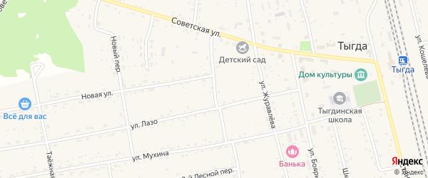 Комсомольская улица на карте села Тыгды с номерами домов