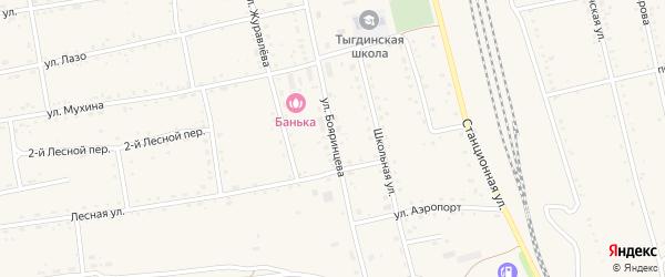 Улица Бояринцева на карте села Тыгды с номерами домов