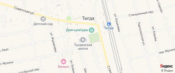 Первомайская улица на карте села Тыгды с номерами домов
