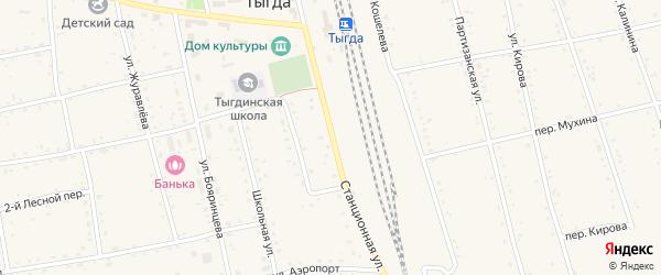 Станционная улица на карте села Тыгды с номерами домов