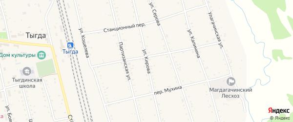 Улица Кирова на карте села Тыгды с номерами домов