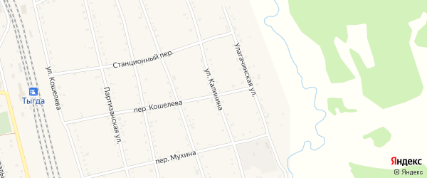Улица Калинина на карте села Тыгды с номерами домов