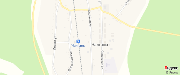 Школьная улица на карте села Чалганы с номерами домов