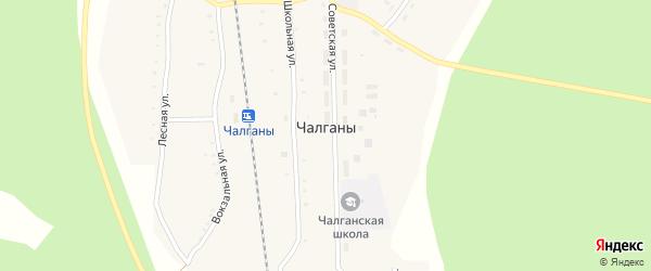 Советская улица на карте села Чалганы с номерами домов
