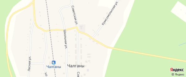 Комсомольский переулок на карте села Чалганы с номерами домов