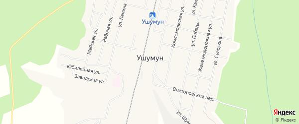 Карта поселка Ушумуна в Амурской области с улицами и номерами домов