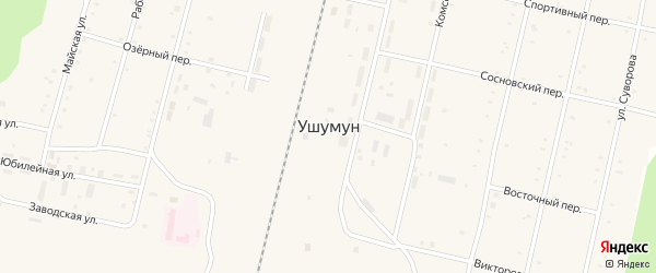 Спортивный переулок на карте поселка Ушумуна с номерами домов
