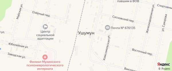 Молодежная улица на карте поселка Ушумуна с номерами домов