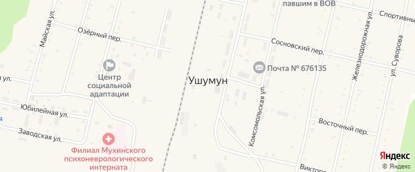 Железнодорожная улица на карте поселка Ушумуна с номерами домов