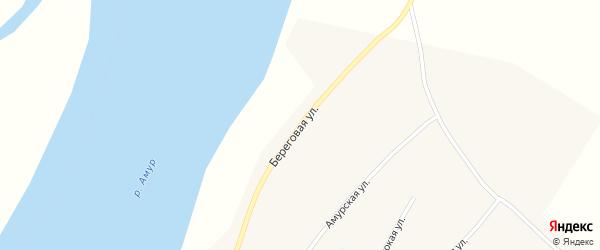 Береговая улица на карте села Нововоскресеновки с номерами домов