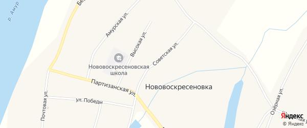 Советская улица на карте села Нововоскресеновки с номерами домов