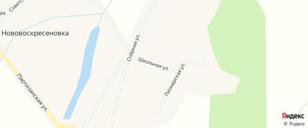 Школьная улица на карте села Нововоскресеновки с номерами домов