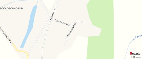 Пионерская улица на карте села Нововоскресеновки с номерами домов