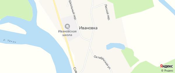 Юбилейный переулок на карте села Ивановки с номерами домов