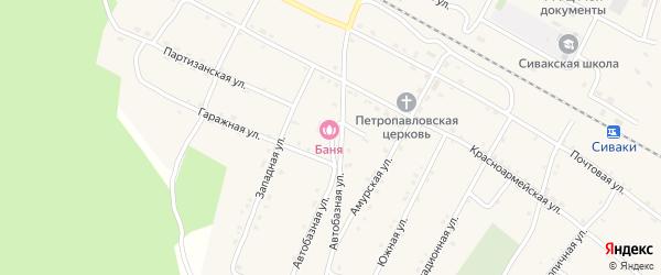 Автобазная улица на карте поселка Сиваки с номерами домов