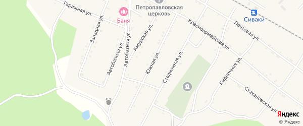 Южная улица на карте поселка Сиваки с номерами домов
