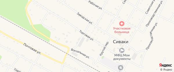 Торговая улица на карте поселка Сиваки с номерами домов
