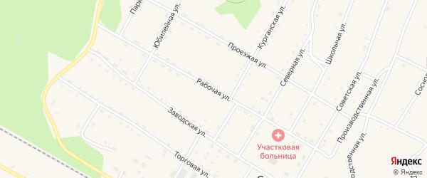 Рабочая улица на карте поселка Сиваки с номерами домов