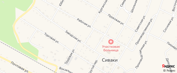 Краснофлотский переулок на карте поселка Сиваки с номерами домов
