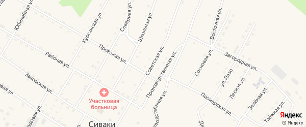 Советская улица на карте поселка Сиваки с номерами домов