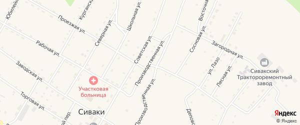 Производственная улица на карте поселка Сиваки с номерами домов