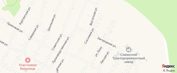 Сосновая улица на карте поселка Сиваки с номерами домов