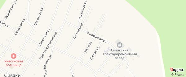 Улица Лазо на карте поселка Сиваки с номерами домов