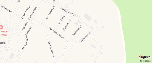 Лесная улица на карте поселка Сиваки с номерами домов