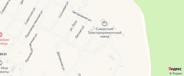Зеленая улица на карте поселка Сиваки с номерами домов