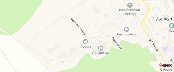 Фестивальная улица на карте поселка Дипкуна с номерами домов